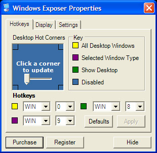 WinExposer configuration screen 1